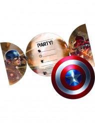6 Einladungen inkl. Umschläge Captain America ™