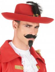 Edler Musketier-Hut mit Feder für Erwachsene rot-schwarz