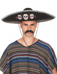 Sombrero Dia de los Muertos silber - schwarz