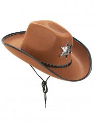 Cowboyhut Sheriff für Erwachsene braun