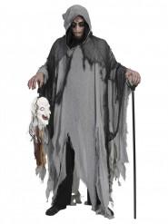 Gruselkleid grau schwarz Halloween für Erwachsene