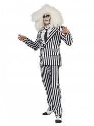 Kostüm schwarz weiß gestreifter Anzug für Erwachsene