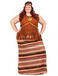 Hippiekostüm für Damen braun-bunt