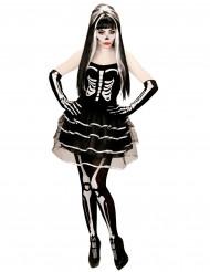 Effektvolles Skelett Kostüm Halloween für Damen