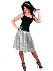 Disco-Rock mit silbernen Pailletten für Damen