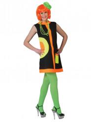 Stilvolles 60er Jahre Kleid mit schwarzen und neonfarbenen Details