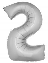Folienballon Zahl 2 Aluminium Raumdekoration silber 1m
