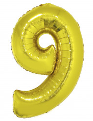 Folienballon Zahl 9 festliche Raumdekoration gold 1m