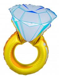 Aluminium-Ballon Diamanten-Ring gelb 105 cm