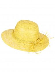 Vintage Strohhut für Damen gelb