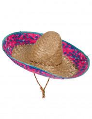 Mexikanischer Sombrero für Erwachsene mit Krempe in Rosa und Blau