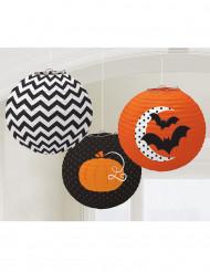 Drei Laternen mit Halloween-Motiven 24 cm