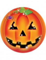 8 Pappteller mit Kürbismotiv für Halloween, 23 cm