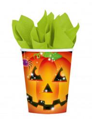 8 Halloween-Pappbecher mit Kürbismotiv 266 ml