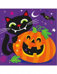 16 Papierservietten Kürbis und Co. für Halloween