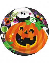 8 Halloween-Pappteller Kürbis und Co. 18 cm