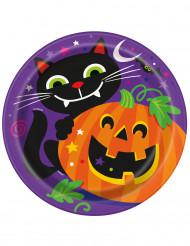 8 Pappteller mit Halloween-Motiv Kürbis und Co. 23 cm