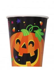 8 Pappbecher Kürbis und Co. für Halloween, 25 cl