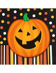 16 Papierservietten Lächelnder Halloween-Kürbis, 33 cm