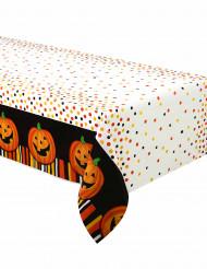 Halloween-Tischdecke Lachender Kürbis aus Plastik