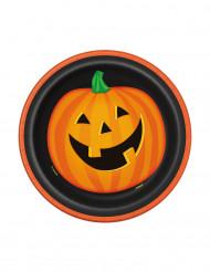 8 Partyteller Halloween-Kürbis 18 cm