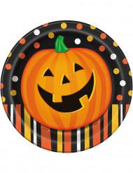 8 Pappteller Halloween-Kürbis 23 cm