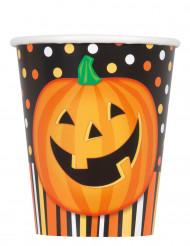 8 Papierbecher für Halloween lachender Kürbis