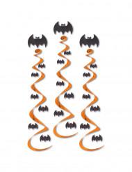 3 Halloween-Spiralgirlanden Fledermaus