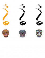 Drei Spiral-Aufhänger mit bunten Totenköpfen 60cm