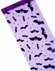 Halloween-Tischläufer mit Fledermaus-Motiv lila-schwarz