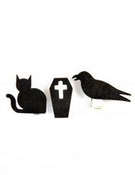 6 Holzklammern Gothic-Motive Halloween schwarz-weiß