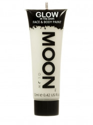 Weiße phosphoreszierende Schminkfarbe für Gesicht und Körper von Moonglow 12ml