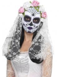 Tag der Toten Maske Skelett-Braut mit Rosen