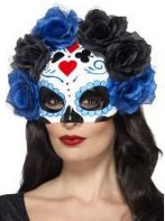 Dia de los Muertos Maske Rosen blau-schwarz für Erwachsene