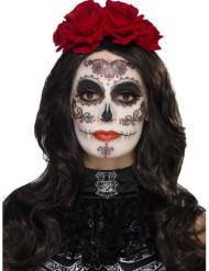 Kit Glamour Dia de los Muertos Make-up mit falschen Wimpern und Schmuck für Damen