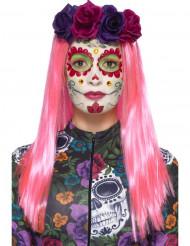 Kit Dia de los Muertos buntes Make-up und falsche Wimpern für Damen