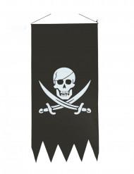 Piratenflagge Jolly Roger mit Fransen schwarz-weiss