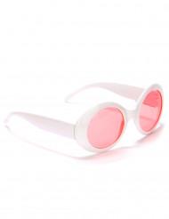 Runde Brille in Weiß mit roten Gläsern