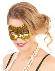Halbmaske mit goldfarbenen Pailletten für Erwachsene
