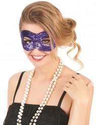 Halbmaske mit violetten Pailletten für Erwachsene