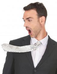 Weiße Krawatte mit Pailletten für Erwachsene