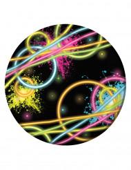 Pappteller mit Neon-Motiven