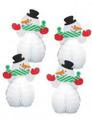 4 Mini Schneemänner Tischdeko-Set 15 cm