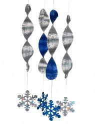4 Schneeflocken Hänge-Spiralen blau-silber