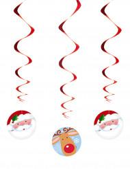 3 Hängespiralen Weihnachtsmann und Rentier