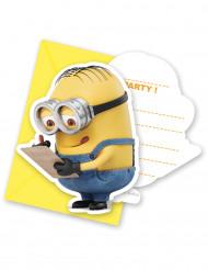 6 Minions-Einladungskarten mit Umschlägen