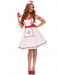 Sexy Krankenschwester-Kostüm für Damen weiss-rot