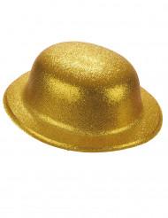 Hut Melone Kunststoff gold glitzernd für Erwachsene