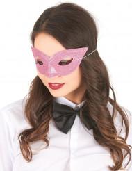 Venezianische Glitzer-Maske für Erwachsene rosa