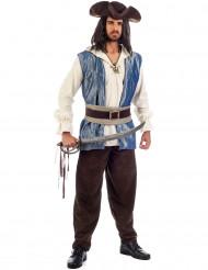 Piraten-Herrenkostüm für Karneval braun-weiss-blau